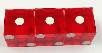 Casino Dice - Casino Quality Set Of 3 Precision Red Used Dice - Free Shipping