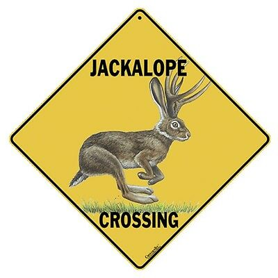"""JACKALOPE Crossing Sign, 12"""" on sides, 16"""" on diagonal, Indoor/Outdoor Use"""