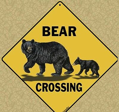 "BEAR FAMILY Crossing Sign, 12"" on sides, 16"" on diagonal, Indoor/Out-Aluminum"