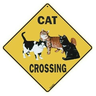 """CAT CROSSING Sign, 12"""" on sides, 16"""" on diagonal, Indoor/Outdoor Use--Aluminum"""