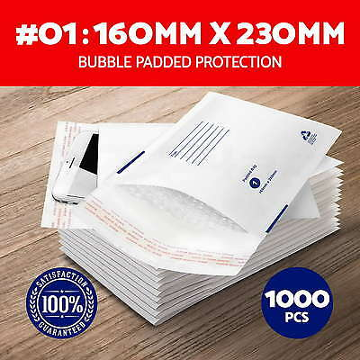NEW 1000x #01 Bubble Padded Bag Envelope 160x230mm Mailer Size 01 White Printed