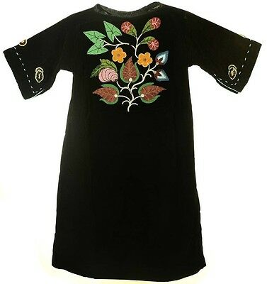 Vintage Early American Indian Museum Piece Floral Beaded Velvet Dress