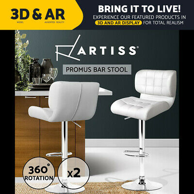 2x Bar Stools PU Leather Chrome Kitchen Barstool Chair Gas Lift White 4059