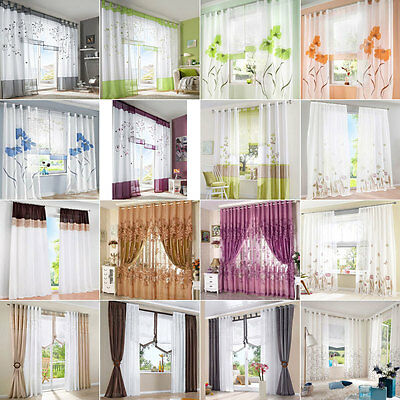 Window Curtains Divider Voile Tulle Decal Drape Panel Sheer Scarf Valance