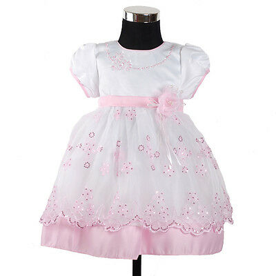 New Girls White and Pink Floral Christening Party Pageant Dress 12-18 Months