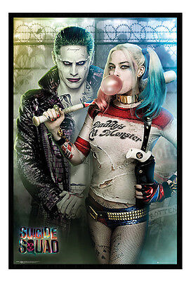 Framed Suicide Squad Joker And Harley Quinn Poster New