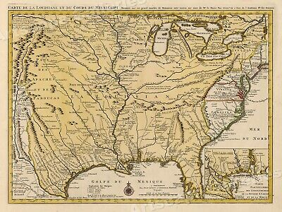 Map Of The Mississippi River And Louisiana 1730 Vintage Style Us Map