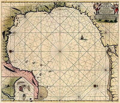 1631 North America Gulf Coast Sea Chart Historic Vintage Style Map - 20x24