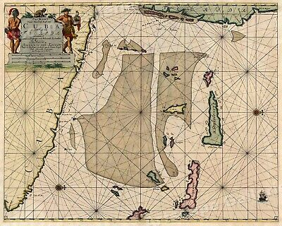1701 Sailing Map of Cuba and Florda Historic Vintage Style Illustrated Map 20x24