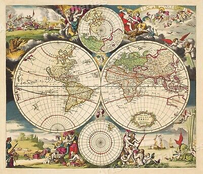 1703 World Map Historic Vintage Style Illustrated Wall Map - 24x28
