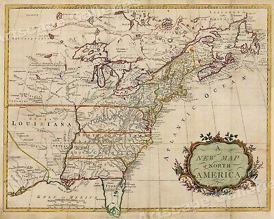 A New Map of North America 1760s Vintage Style Early US Map - 20x24