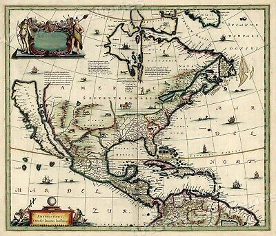 North America 1652 Vintage Style Early United States Map - 24x28