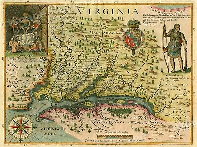 """1620s """"Virginia"""" Vintage Style Early Colonial America Map - 20x28"""