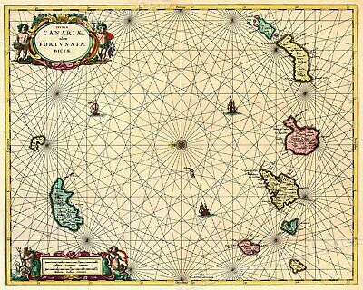Canary Islands 1720s Vintage Style Sea Chart Map - 24x30