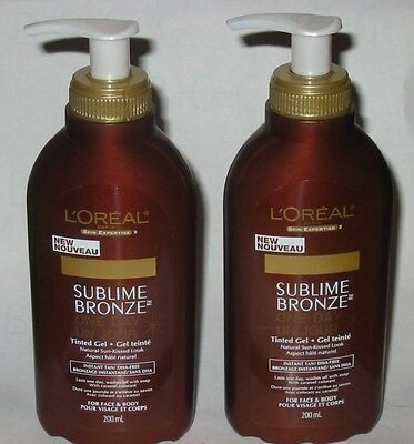 L'oreal Sublime Bronze One Day Tinted Gel For Face & Body 6.7oz Lot 2 New Jars