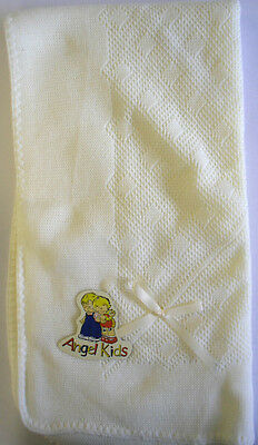Baby Babies Wrap Unisex Cream Blanket Knitted Ribbon Angel Kids Christening