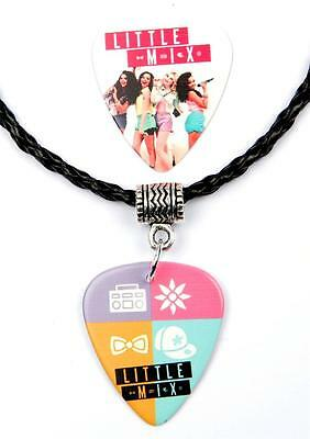 Little Mix Necklace Guitar Pick Plectrum Black Twist Cord Two Sided