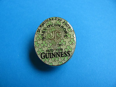 Guinness Pin badge. Unused. WAXY O'CONNOR'S, St Patricks Day 2007. (Black)