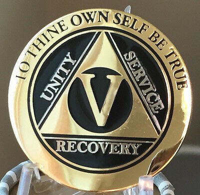5 Year AA Medallion Black Gold Plated Bi-Plate Alcoholics Anonymous Chip Coin