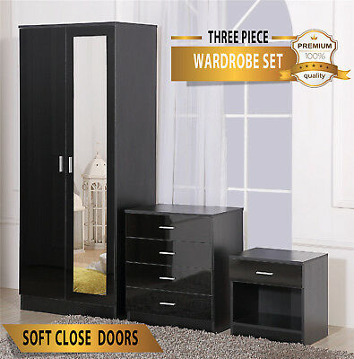 Mirrored Black High Gloss Bedroom Furniture Set- Wardrobe, Chest & Bedside