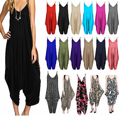 Ladies Cami Lagenlook Romper Baggy Harem Playsuit Women Jumpsuit Dress Plus Size