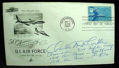 FDC 1957 AIR FORCE  Signed WWII Ace Pilot USAF 31st Fighter Group Cmdr McCorkle
