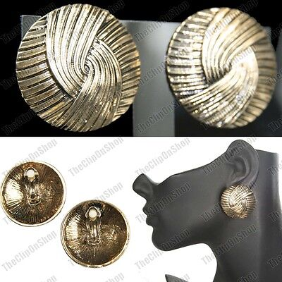 Large 3cm CLIP ON EARRINGS big round CHUNKY weave ANTIQUE GOLD/SILVER fashion