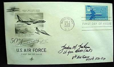 FDC 1957 AIR FORCE  Signed by WWII Ace Pilot USAF 355th Fighter Group G. Graham
