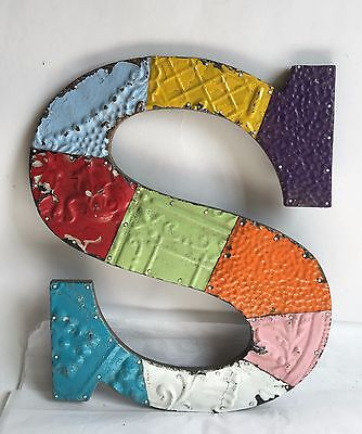 """Large Antique Tin Ceiling Wrapped 16"""" Letter 'S' Patchwork Metal Multi Color B5"""