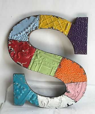 "Large Antique Tin Ceiling Wrapped 16"" Letter 'S' Patchwork Metal Multi Color B5"