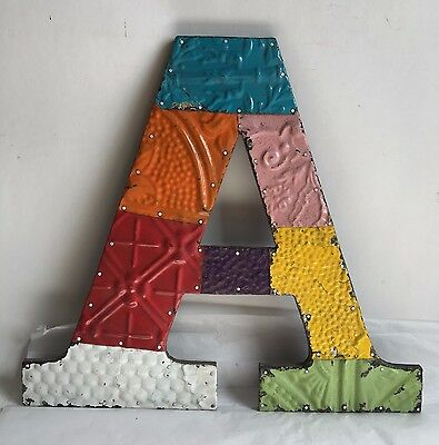 "Large Reclaimed Tin Ceiling Wrapped 16"" Letter 'A' Patchwork Metal Chic Metal B6"