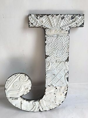 "1890's Antique Tin Ceiling Wrapped 16"" Letter ""J"" Patchwork  Mosaic White B7"