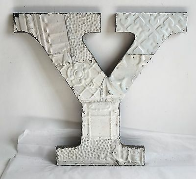 "Large Antique Tin Ceiling Wrapped 16"" Letter Y'' Patchwork Metal White B8"
