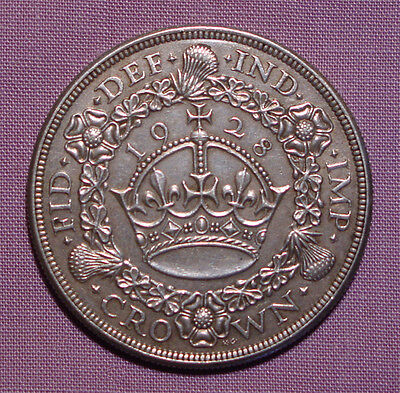 1928 KING GEORGE V SILVER WREATH CROWN - Nice Grade