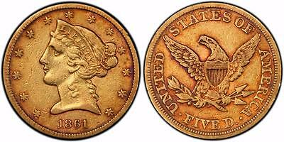1861 $5 Liberty Head Gold Coin Half Eagle XF40 PCGS TrueView TONED!