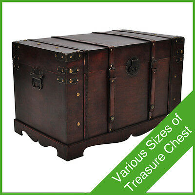 #bNEW VINTAGE LARGE WOODEDN TREASURE CHEST TRAVEL CHUNK