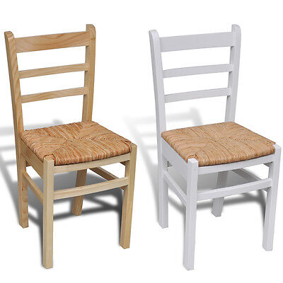 #bNew Wooden Dinning Chair Ladder Back Rush Seat Chairs Modern 2 Colour 2/4/6pcs
