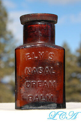 ORIGINAL antique NASAL CREAM quack med BOTTLE labeled embossed sealed w/ CAP