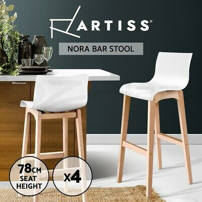 4x Oak Wood Bar Stools Wooden Barstool Dining Chairs Kitchen Timber White 3608