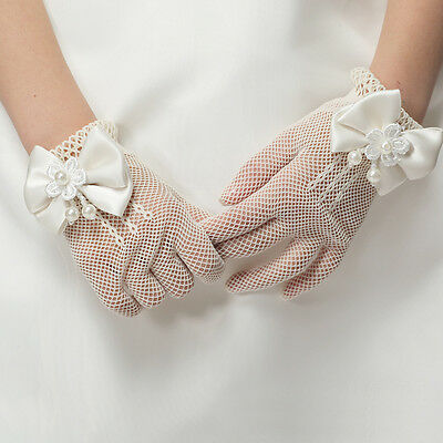 New Kids Cream Lace #E Pearl Fishnet Gloves Communion Wedding Flower Girl Party