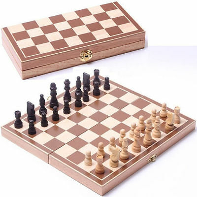 Vintage Wooden Pieces Chess Set Folding Board Box Wood Hand Carved Kids Toy JNEG