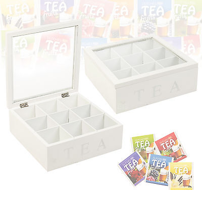 Wooden MDF Tea Box 9 Section Clear Lid Compartments Container Bag Caddy Chest