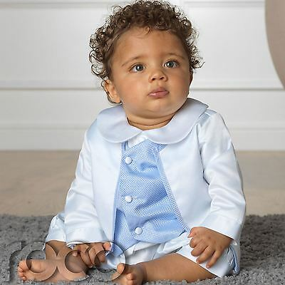 Boys Romper, White And Blue Romper, Christening Outfit, Blue Romper