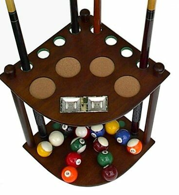 8 Cue Stick Pool Table Ball floor Rack with Scorer, Mahogany Finish Brand New