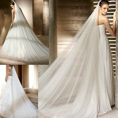 White/Ivory 3 meters Wedding Bridal Long Veil Church Cathedral Length With Comb