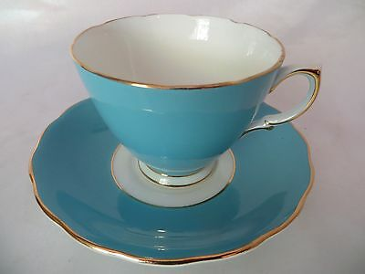 COLCLOUGH - 7536 - Solid Blue - Gold Trim - CUP & SAUCER SET - 1207