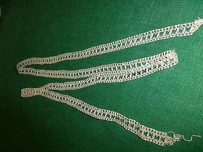 "Antique Vintage 19c Lace Chemical Schiffli off white Trim  38""x .5"" Delicate"