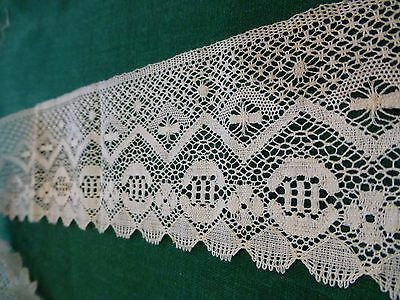 "Antique Vintage 19c Lace Chemical Schiffli off white Trim  22""x 3"" Pretty"