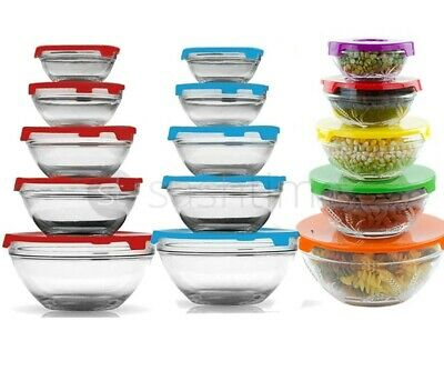New 5 Stackable Glass Bowl Bowls  Food Storage Kitchen Set With Lids Red / Blue