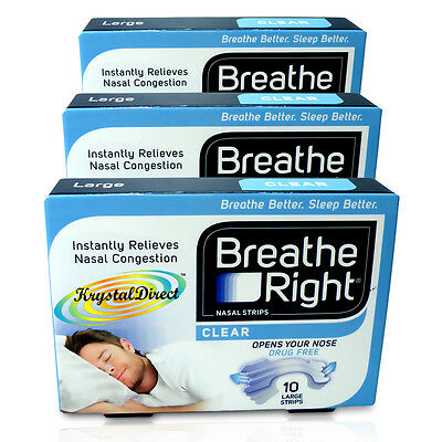 3x Breathe Right Nasal Strips 10 Clear Large